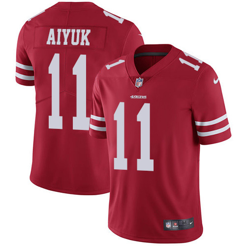 Women 49ers #11 Brandon Aiyuk Red Color s NFL Jersey