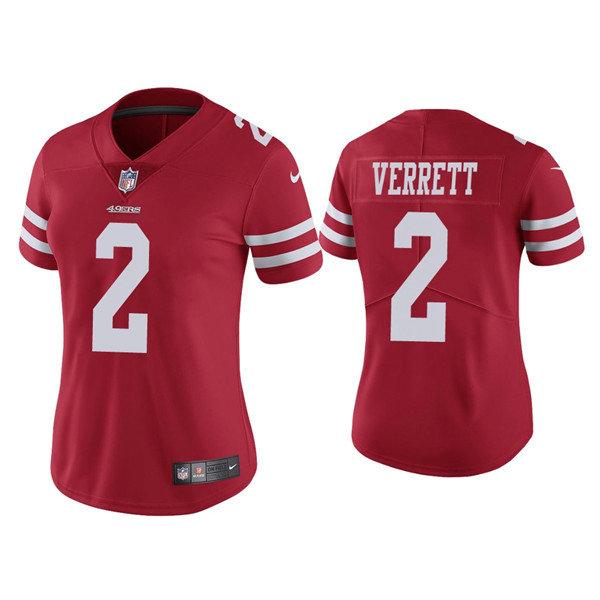 Women 49ers #2 Jason Verrett Red Vapor limited Jersey