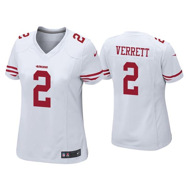 Women 49ers #2 Jason Verrett White Vapor limited Jersey