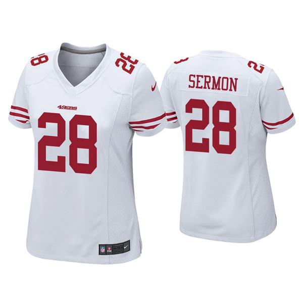Women 49ers #28 Trey Sermon White Vapor Limited Jersey