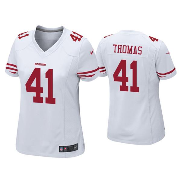 Women 49ers #41 Ambry Thomas White Jersey