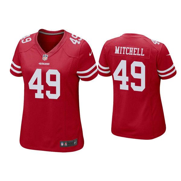 Women 49ers #49 Elijah Mitchell Red Jersey