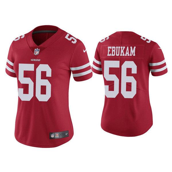 Women 49ers #56 Samson Ebukam Red Vapor limited Jersey