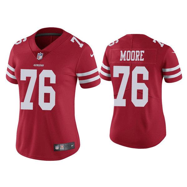 Women 49ers #76 Jaylon Moore Red Jersey