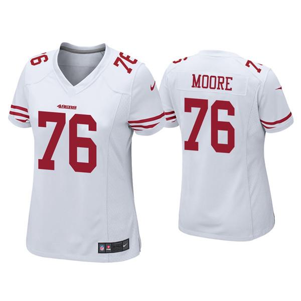 Women 49ers #76 Jaylon Moore White Jersey