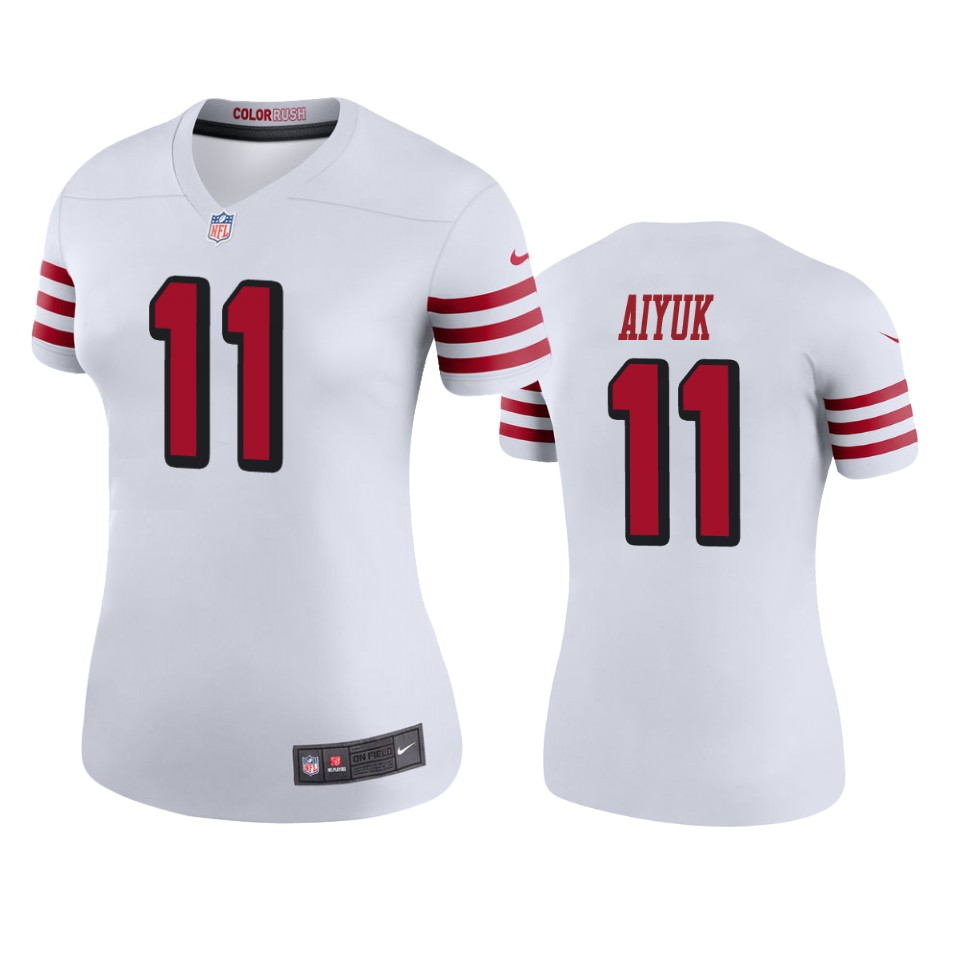 Women 49ers Brandon Aiyuk #11 White Rush Jersey