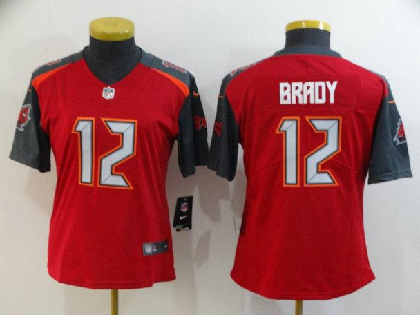 Women Buccaneers 12 Tom Brady Red Women Vapor Untouchable Limited Jersey