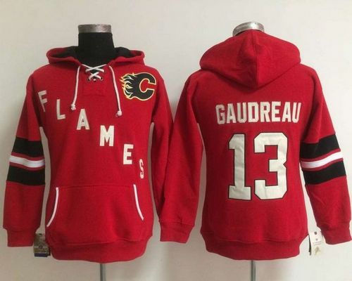 Women Calgary Flames 13 Johnny Gaudreau Red Old Time Heidi NHL Hoodie