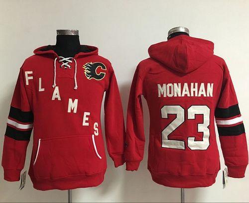 Women Calgary Flames 23 Sean Monahan Red Old Time Heidi NHL Hoodie