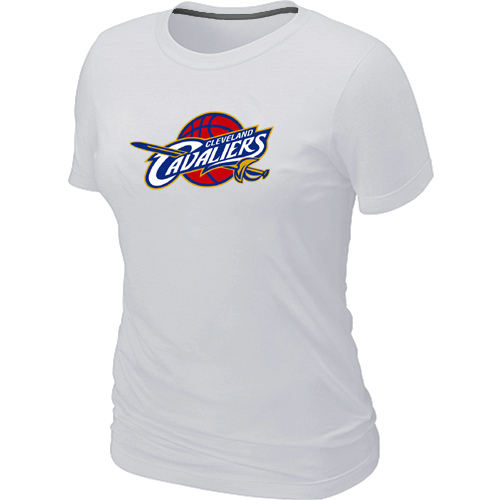 Women Cleveland Cavaliers Big Tall Primary Logo White T Shirt