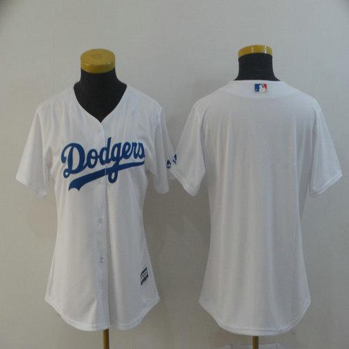 Women Dodgers Blank White Women Cool Base Jersey