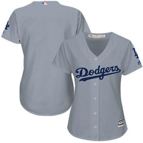 Women Dodgers Grey Alternate Road Stitched blank Baseball Jersey
