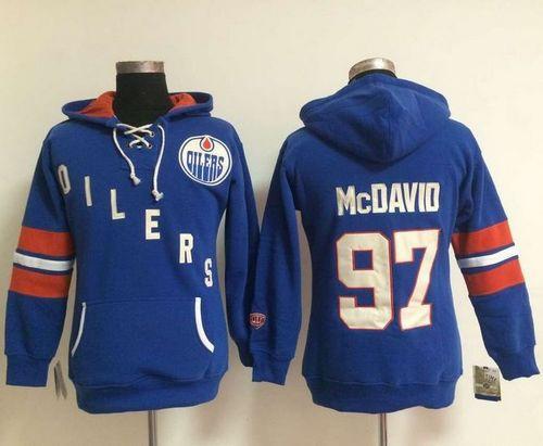 Women Edmonton Oilers 97 Connor McDavid Light Blue Old Time Heidi NHL Hoodie