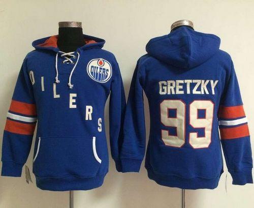 Women Edmonton Oilers 99 Wayne Gretzky Light Blue Old Time Heidi NHL Hoodie