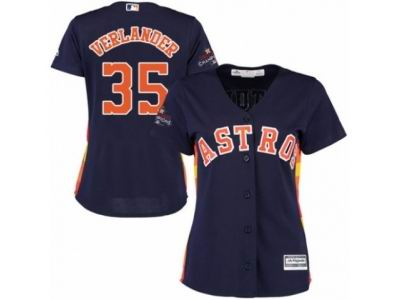 Women Houston Astros #35 Justin Verlander Authentic Navy Blue 2017 World Series Champions Cool Base MLB Jersey