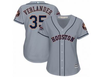 Women Houston Astros #35 Justin Verlander Grey Road 2017 World Series Champions Cool Base MLB Jersey