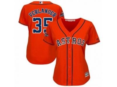 Women Houston Astros #35 Justin Verlander Orange 2017 World Series Champions Cool Base MLB Jersey