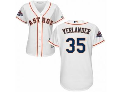 Women Houston Astros #35 Justin Verlander White Home 2017 World Series Champions Cool Base MLB Jersey