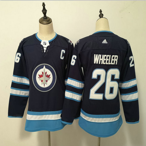 Women Jets 26 Blake Wheeler Navy Women Adidas Jersey