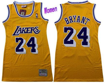 Women Lakers 24 Kobe Bryant Yellow Women Swingman Jersey