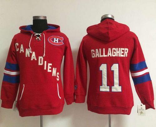 Women Montreal Canadiens 11 Brendan Gallagher Red Old Time Heidi NHL Hoodie