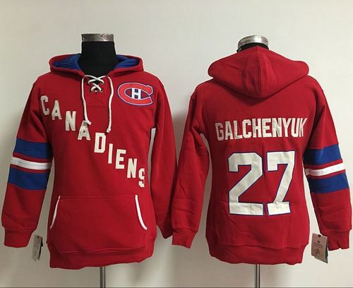 Women Montreal Canadiens 27 Alex Galchenyuk Red Old Time Heidi NHL Hoodie