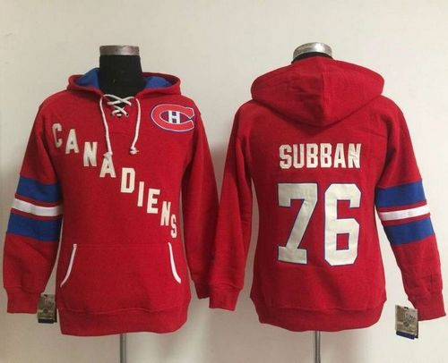 Women Montreal Canadiens 76 P.K Subban Red Old Time Heidi NHL Hoodie