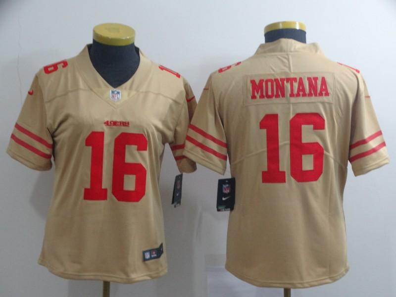 Women Nike 49ers 16 Joe Montana Cream Women Inverted Legend Limited Jersey