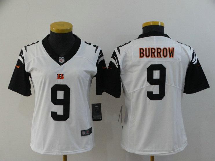 Women Nike Bengals 9 Joe Burrow Black Women 2020 NFL Draft First Round Pick Color Rush Limited Jersey