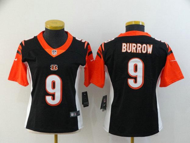 Women Nike Bengals 9 Joe Burrow Black Women 2020 NFL Draft First Round Pick Vapor Untouchable Limited Jersey