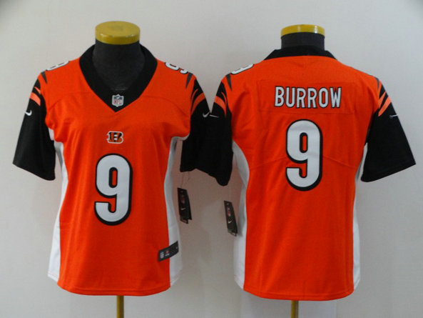 Women Nike Bengals 9 Joe Burrow Orange Women 2020 NFL Draft First Round Pick Vapor Untouchable Limited Jersey