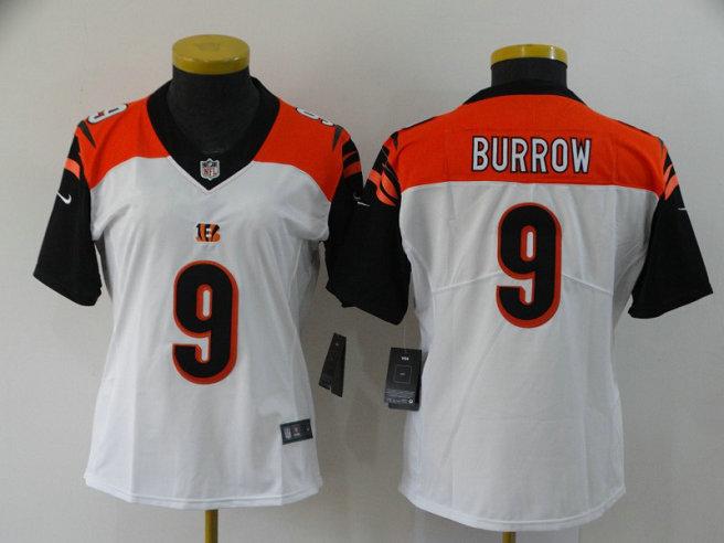 Women Nike Bengals 9 Joe Burrow White Women 2020 NFL Draft First Round Pick Vapor Untouchable Limited Jersey