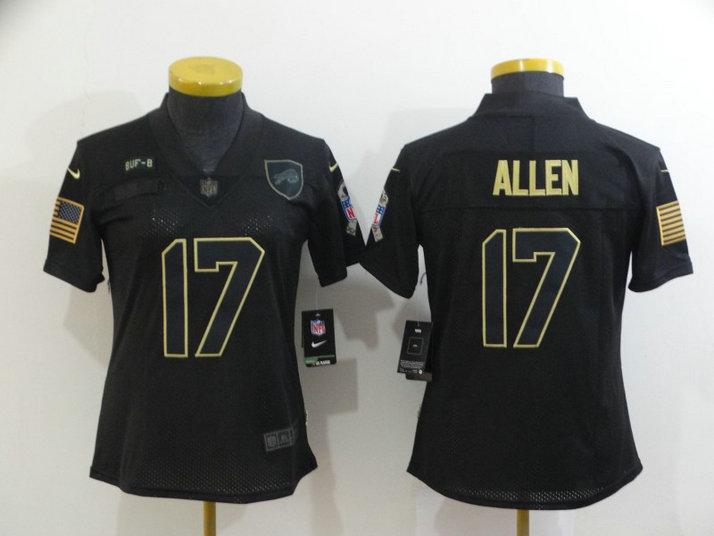 Women Nike Bills 17 Josh Allen Black Women 2020 Salute To Service Limited Jersey