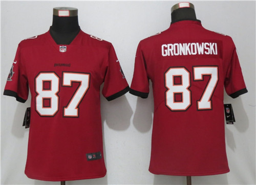 Women Nike Buccaneers 87 Rob Gronkowski  Red New 2020 Vapor Untouchable Limited Jersey