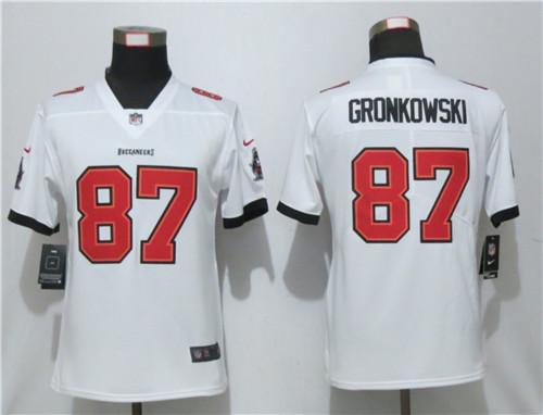 Women Nike Buccaneers 87 Rob Gronkowski White New 2020 Vapor Untouchable Limited Jersey