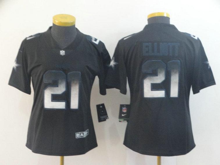 Women Nike Cowboys 21 Ezekiel Elliott Black Arch Smoke Women Vapor Untouchable Limited Jersey
