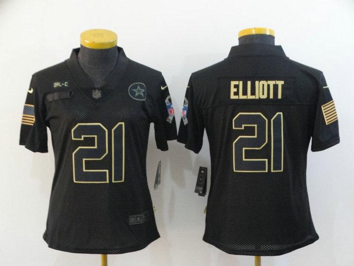 Women Nike Cowboys 21 Ezekiel Elliott Black Women 2020 Salute To Service Limited Jersey