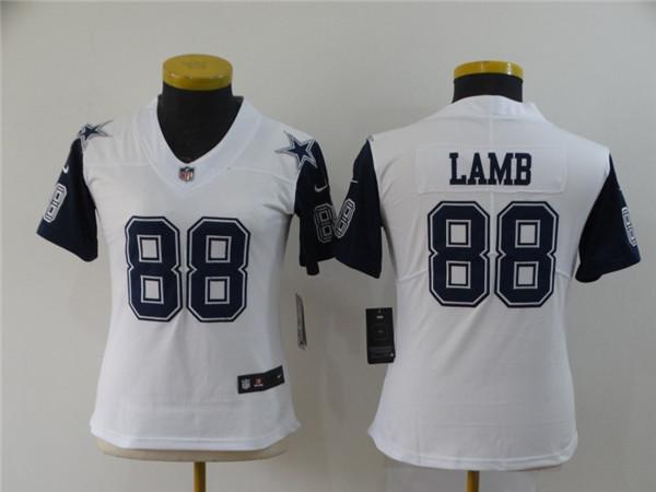 Women Nike Cowboys 88 Ceedee Lamb White Women 2020 NFL Draft Color Rush Limited Jersey
