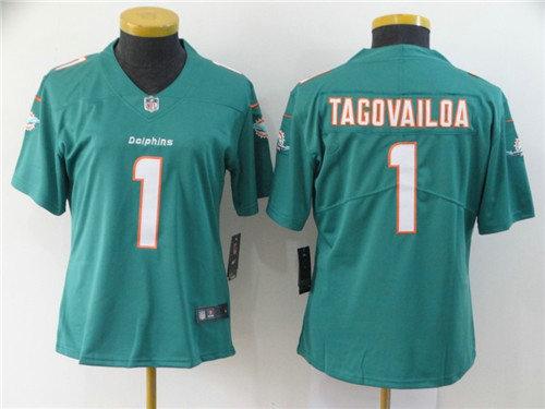 Women Nike Dolphins 1 Tua Tagovailoa Aqua Women 2020 NFL Draft First Round Pick Vapor Untouchable Limited Jersey