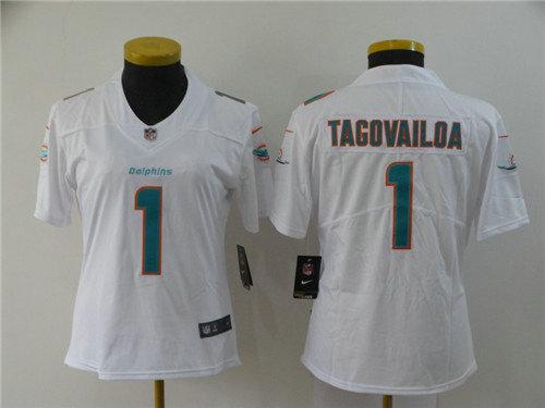 Women Nike Dolphins 1 Tua Tagovailoa White Women 2020 NFL Draft First Round Pick Vapor Untouchable Limited Jersey