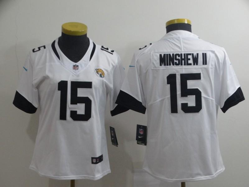 Women Nike Jaguars 15 Gardner Minshew II White Women Vapor Untouchable Limited Jersey