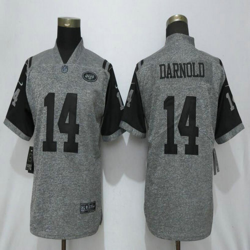 Women Nike Jets 14 Sam Darnold Gray Gridiron Gray Women Vapor Untouchable Limited Jersey