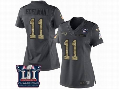 Women Nike New England Patriots #11 Julian Edelman Limited Black 2016 Salute to Service Super Bowl LI Champions NFL Jersey