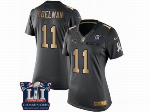 Women Nike New England Patriots #11 Julian Edelman Limited Black Gold Salute to Service Super Bowl LI Champions NFL Jersey