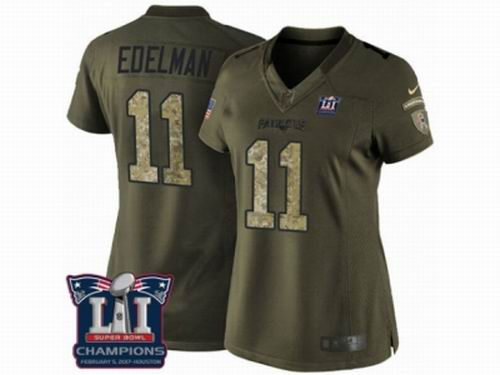 Women Nike New England Patriots #11 Julian Edelman Limited Green Salute to Service Super Bowl LI Champions NFL Jersey
