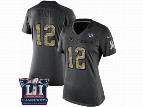 Women Nike New England Patriots #12 Tom Brady Limited Black 2016 Salute to Service Super Bowl LI Champions NFL Jersey