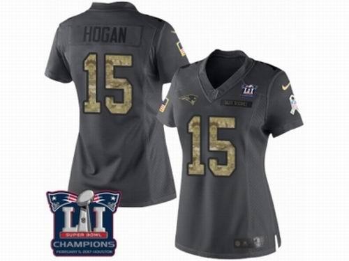 Women Nike New England Patriots #15 Chris Hogan Limited Black 2016 Salute to Service Super Bowl LI Champions NFL Jersey