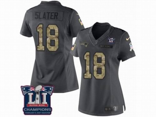 Women Nike New England Patriots #18 Matthew Slater Limited Black 2016 Salute to Service Super Bowl LI Champions NFL Jersey