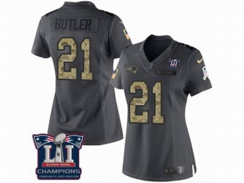 Women Nike New England Patriots #21 Malcolm Butler Limited Black 2016 Salute to Service Super Bowl LI Champions NFL Jersey