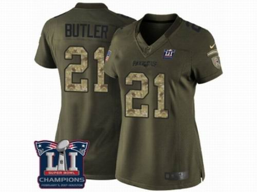 Women Nike New England Patriots #21 Malcolm Butler Limited Green Salute to Service Super Bowl LI Champions NFL Jersey